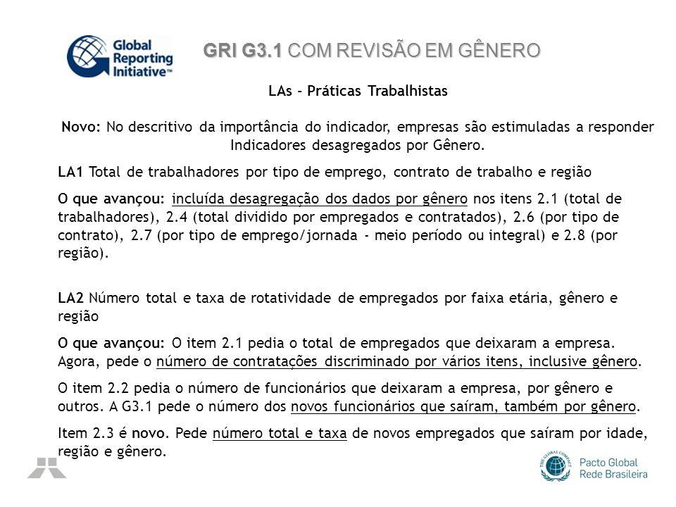 GRI G3.1 COM REVISÃO EM GÊNERO LAs - Práticas Trabalhistas Novo: No descritivo da importância do indicador, empresas são estimuladas a responder Indic