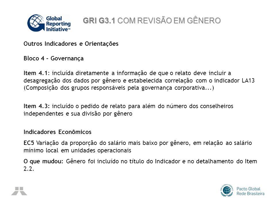 GRI G3.1 COM REVISÃO EM GÊNERO Outros Indicadores e Orientações Bloco 4 – Governança Item 4.1: incluída diretamente a informação de que o relato deve