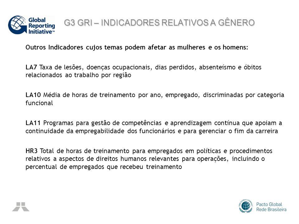 G3 GRI – INDICADORES RELATIVOS A GÊNERO G3 GRI – INDICADORES RELATIVOS A GÊNERO Outros Indicadores cujos temas podem afetar as mulheres e os homens: L