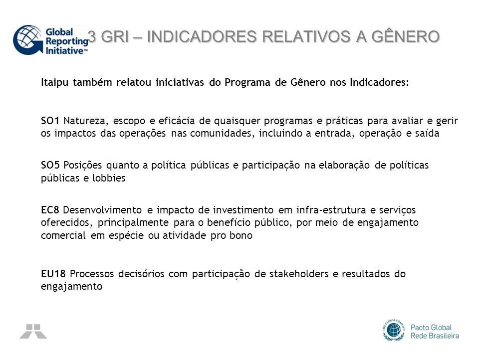 G3 GRI – INDICADORES RELATIVOS A GÊNERO G3 GRI – INDICADORES RELATIVOS A GÊNERO Itaipu também relatou iniciativas do Programa de Gênero nos Indicadore