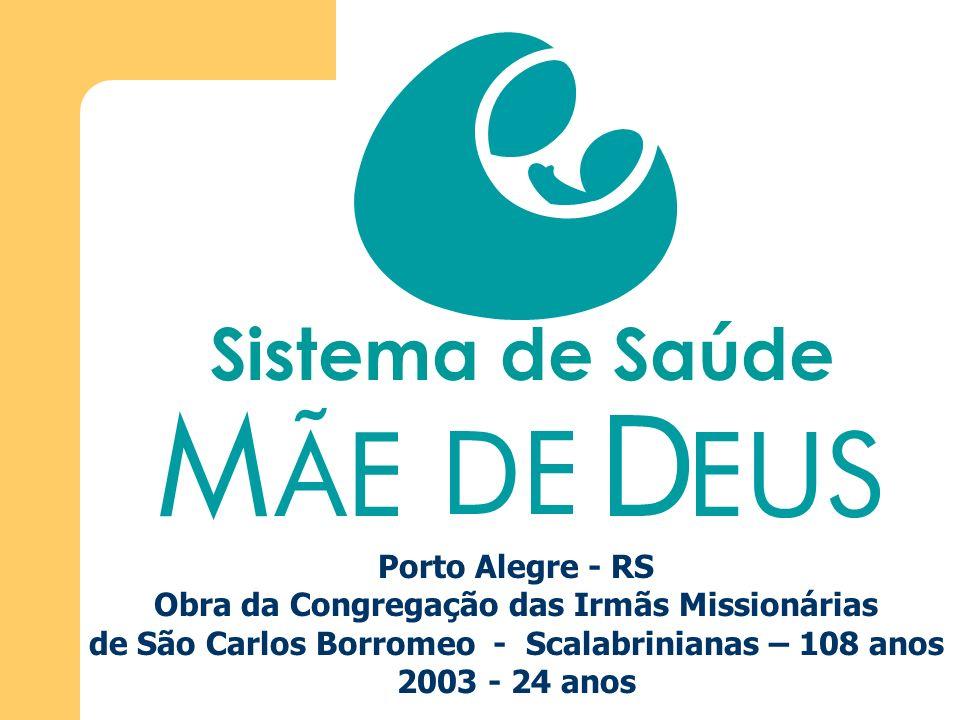 Porto Alegre - RS Obra da Congregação das Irmãs Missionárias de São Carlos Borromeo - Scalabrinianas – 108 anos 2003 - 24 anos Sistema de Saúde