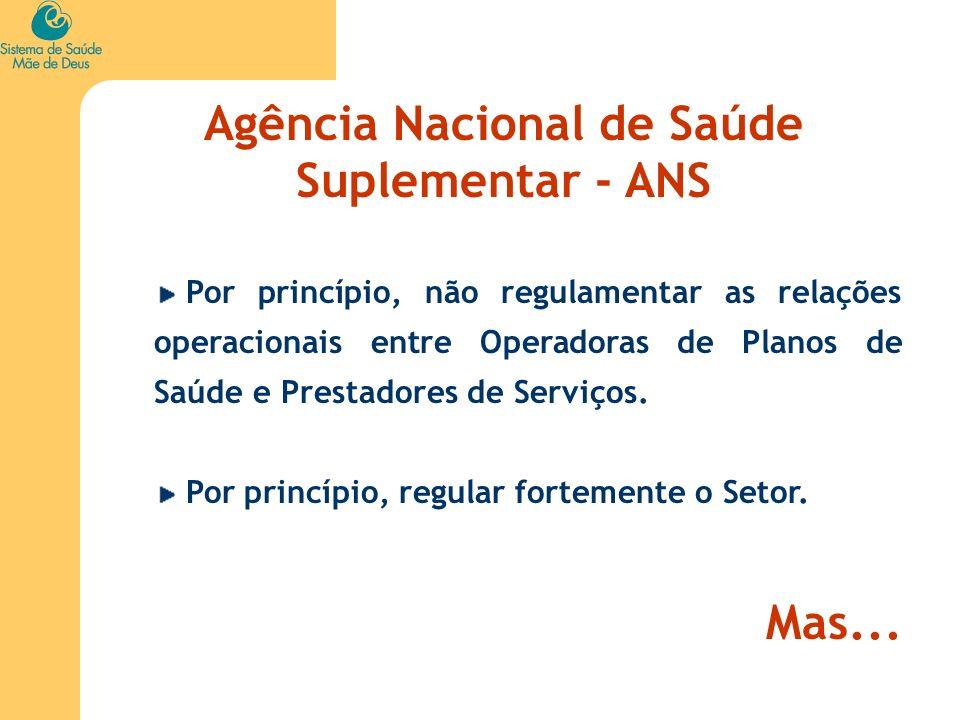 Agência Nacional de Saúde Suplementar - ANS Por princípio, não regulamentar as relações operacionais entre Operadoras de Planos de Saúde e Prestadores