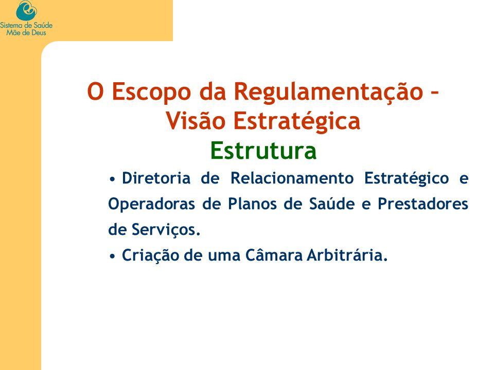 O Escopo da Regulamentação – Visão Estratégica Estrutura Diretoria de Relacionamento Estratégico e Operadoras de Planos de Saúde e Prestadores de Serv