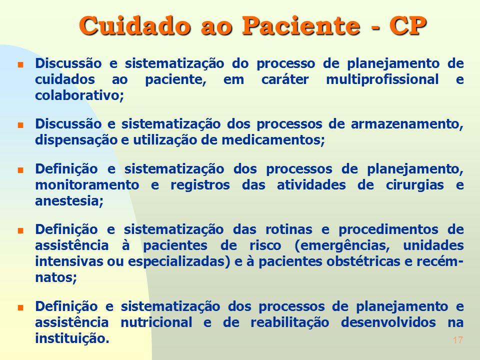 16 Avaliação do Paciente - AP n Discussão, definição e implantação de protocolos assistenciais nos serviços existentes na instituição; n Definição e s