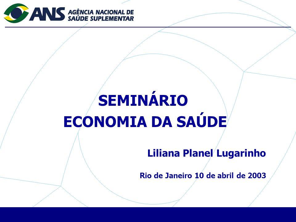SEMINÁRIO ECONOMIA DA SAÚDE Liliana Planel Lugarinho Rio de Janeiro 10 de abril de 2003