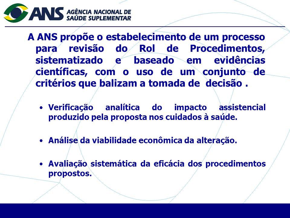 A ANS propõe o estabelecimento de um processo para revisão do Rol de Procedimentos, sistematizado e baseado em evidências científicas, com o uso de um conjunto de critérios que balizam a tomada de decisão.