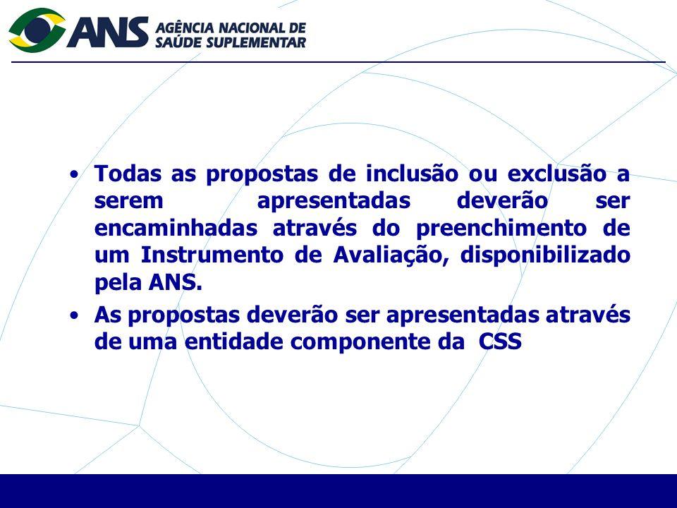 Todas as propostas de inclusão ou exclusão a serem apresentadas deverão ser encaminhadas através do preenchimento de um Instrumento de Avaliação, disponibilizado pela ANS.
