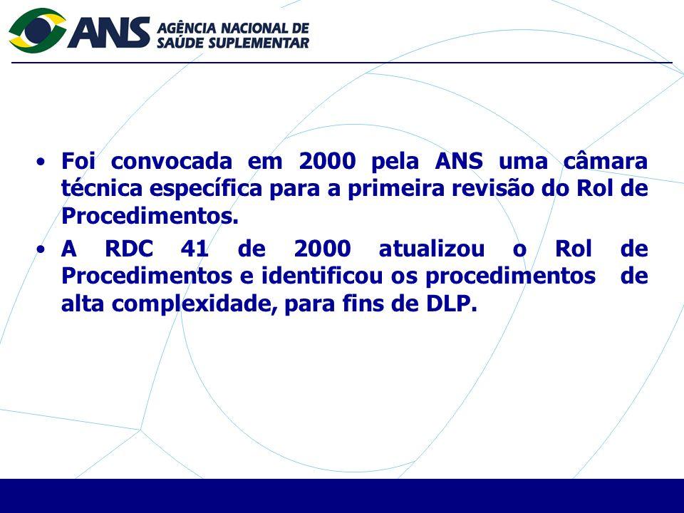 Foi convocada em 2000 pela ANS uma câmara técnica específica para a primeira revisão do Rol de Procedimentos.