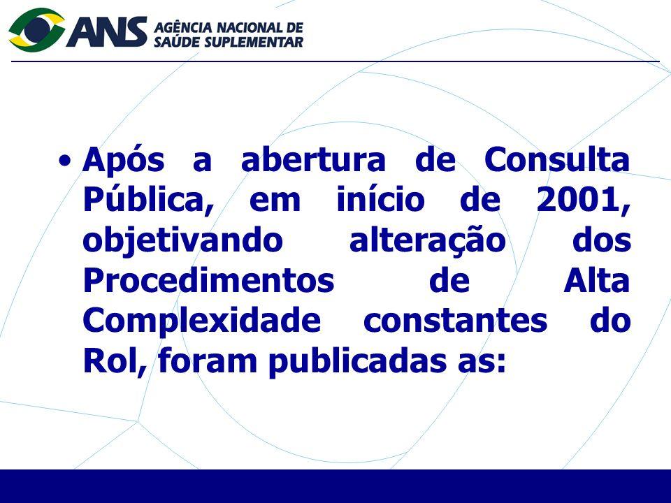 Após a abertura de Consulta Pública, em início de 2001, objetivando alteração dos Procedimentos de Alta Complexidade constantes do Rol, foram publicadas as: