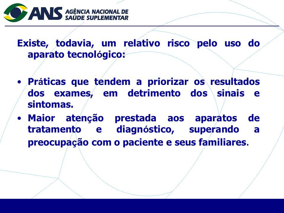 Existe, todavia, um relativo risco pelo uso do aparato tecnol ó gico: Pr á ticas que tendem a priorizar os resultados dos exames, em detrimento dos sinais e sintomas.