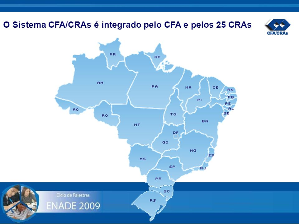O Sistema CFA/CRAs é integrado pelo CFA e pelos 25 CRAs