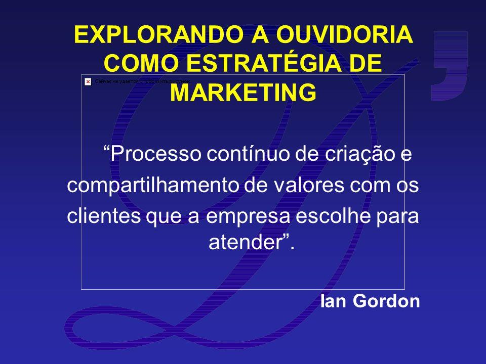 EXPLORANDO A OUVIDORIA COMO ESTRATÉGIA DE MARKETING Processo contínuo de criação e compartilhamento de valores com os clientes que a empresa escolhe para atender.