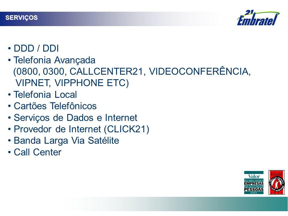 DDD / DDI Telefonia Avançada (0800, 0300, CALLCENTER21, VIDEOCONFERÊNCIA, VIPNET, VIPPHONE ETC) Telefonia Local Cartões Telefônicos Serviços de Dados