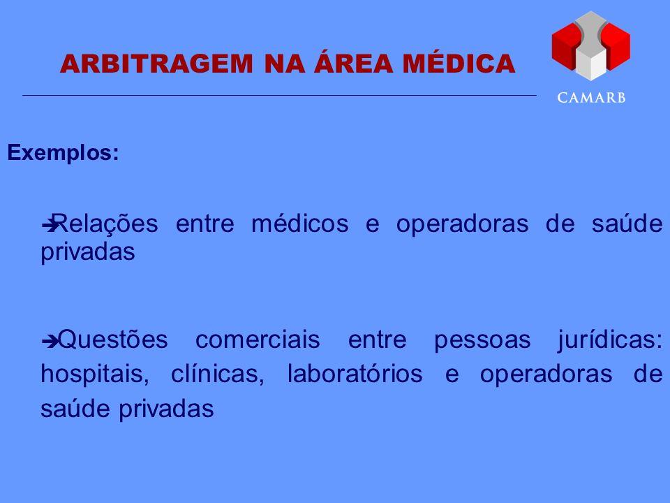 ARBITRAGEM NA ÁREA MÉDICA Exemplos: Relações entre médicos e operadoras de saúde privadas Questões comerciais entre pessoas jurídicas: hospitais, clín