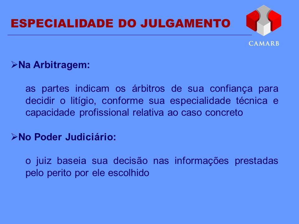ESPECIALIDADE DO JULGAMENTO Na Arbitragem: as partes indicam os árbitros de sua confiança para decidir o litígio, conforme sua especialidade técnica e