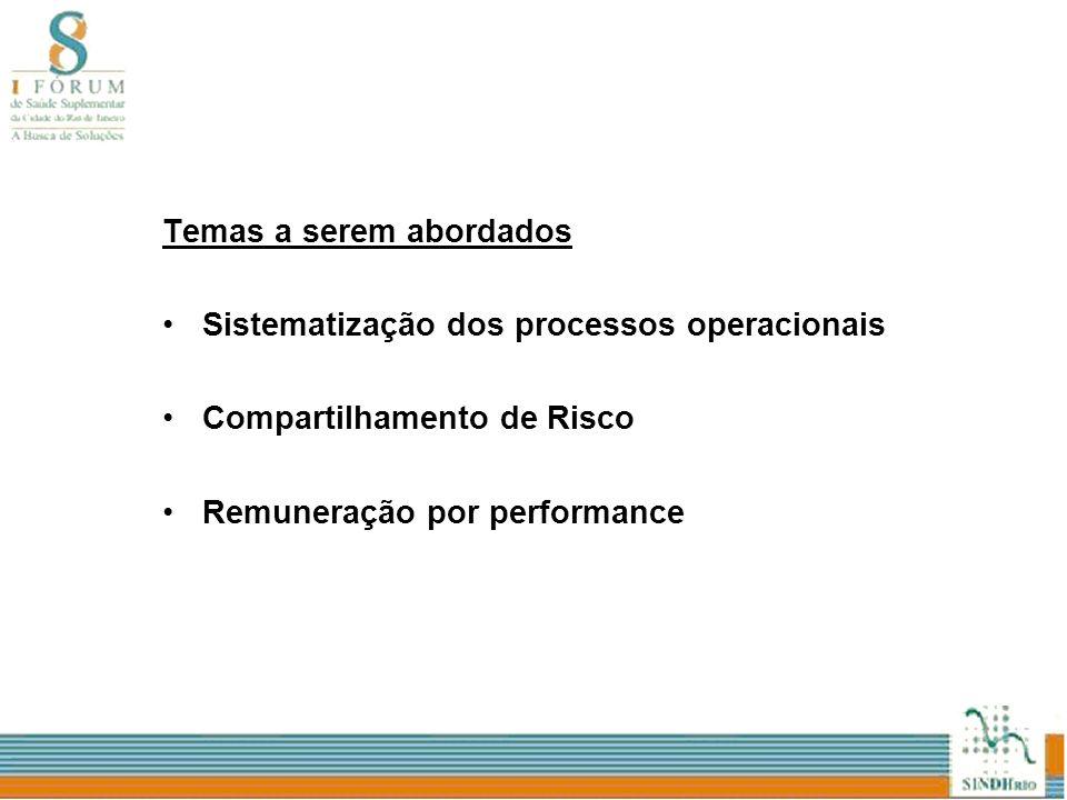 Temas a serem abordados Sistematização dos processos operacionais Compartilhamento de Risco Remuneração por performance