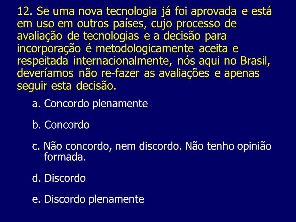 12. Se uma nova tecnologia já foi aprovada e está em uso em outros países, cujo processo de avaliação de tecnologias e a decisão para incorporação é m