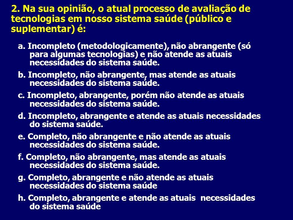 2. Na sua opinião, o atual processo de avaliação de tecnologias em nosso sistema saúde (público e suplementar) é: a. Incompleto (metodologicamente), n