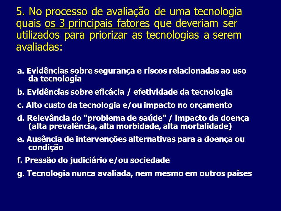 5. No processo de avaliação de uma tecnologia quais os 3 principais fatores que deveriam ser utilizados para priorizar as tecnologias a serem avaliada