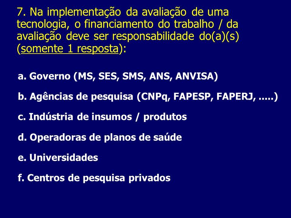 7. Na implementação da avaliação de uma tecnologia, o financiamento do trabalho / da avaliação deve ser responsabilidade do(a)(s) (somente 1 resposta)