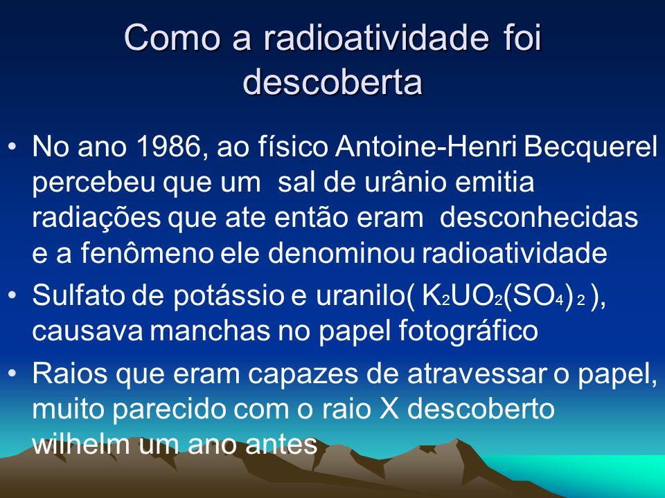 Conceito de Radioatividade: É a capacidade que certos átomos possuem de emitir radiações eletromagnéticas e partículas de seus núcleos instáveis com o objetivo de adquirir estabilidade.