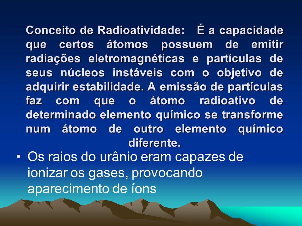 O casal currie Em 1898, Pierre e Marie Curie identificaram o urânio, o polônio (400 vezes mais radioativo que o urânio) e depois, o rádio (900 vezes mais radioativo que o urânio).