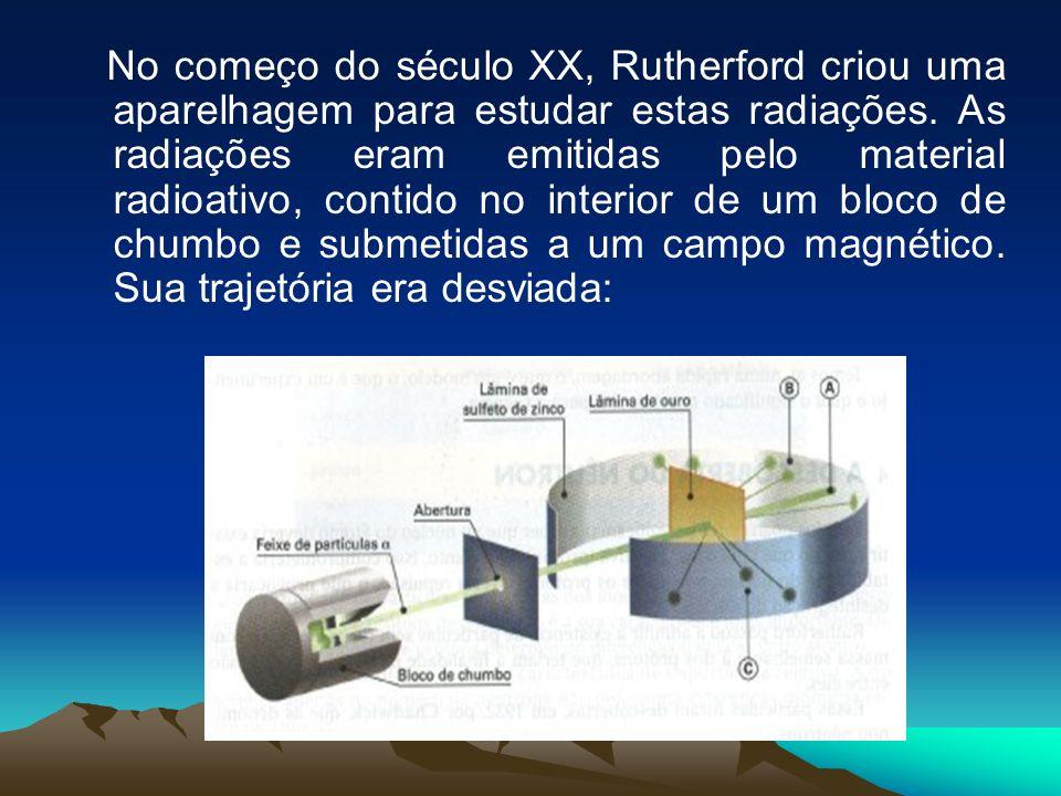 No começo do século XX, Rutherford criou uma aparelhagem para estudar estas radiações.
