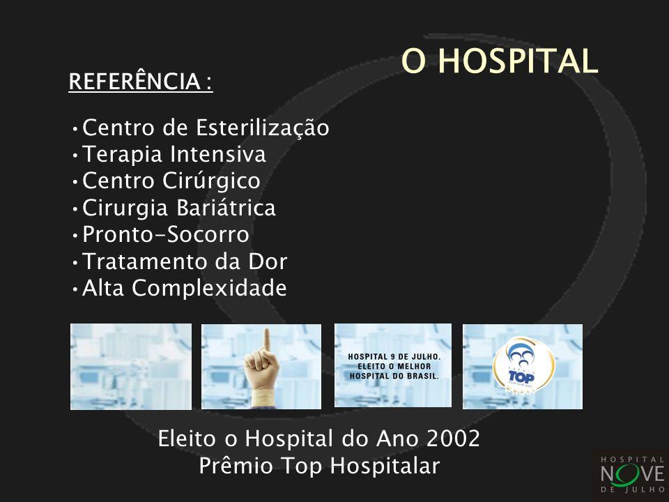 Eleito o Hospital do Ano 2002 Prêmio Top Hospitalar REFERÊNCIA : Centro de Esterilização Terapia Intensiva Centro Cirúrgico Cirurgia Bariátrica Pronto