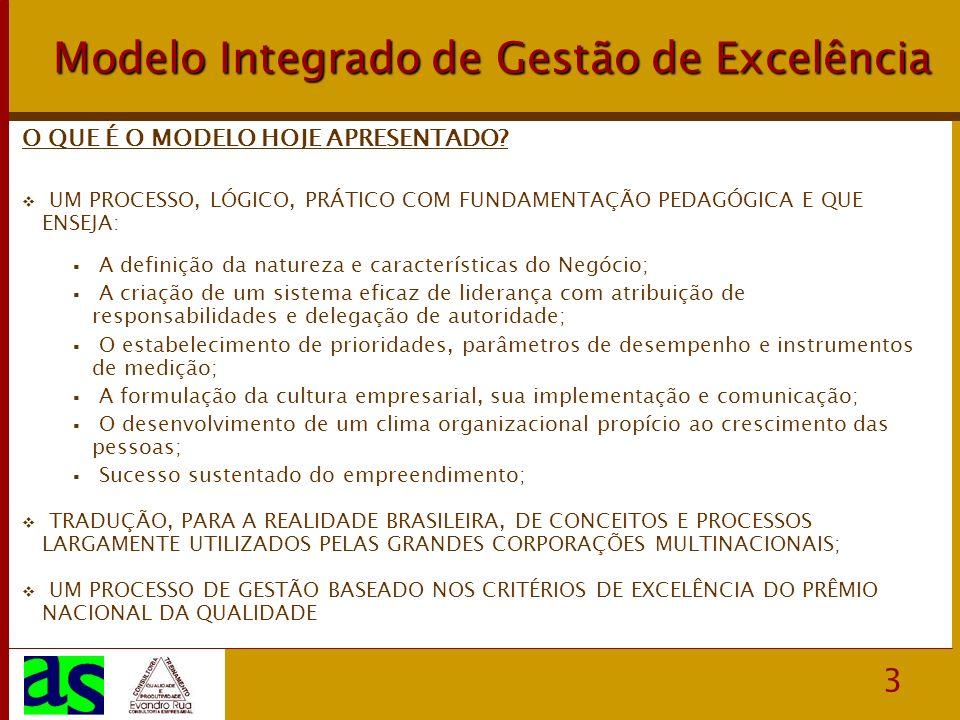 4 Modelo Integrado de Gestão de Excelência Opção Estratégica –Valores, Missão, Visão –Negócio, Mercado e Clientes –Inter-relacionamentos, Acionistas x Gestores Foco no Cliente –Pró-atividade em vendas –Atitude vendedora na empresa –Gestão de vendas Recursos Humanos, um Diferencial Competitivo –Orientação para a Qualidade –Processos e Práticas; Competências Organizacionais –Clima Organizacional Gestão Orientada para Resultados –Liderança e Direção Geral –Definição de Responsabilidade e Delegação de Autoridade –Objetivos e Indicadores de Desempenho ELEMENTOS ESSENCIAS