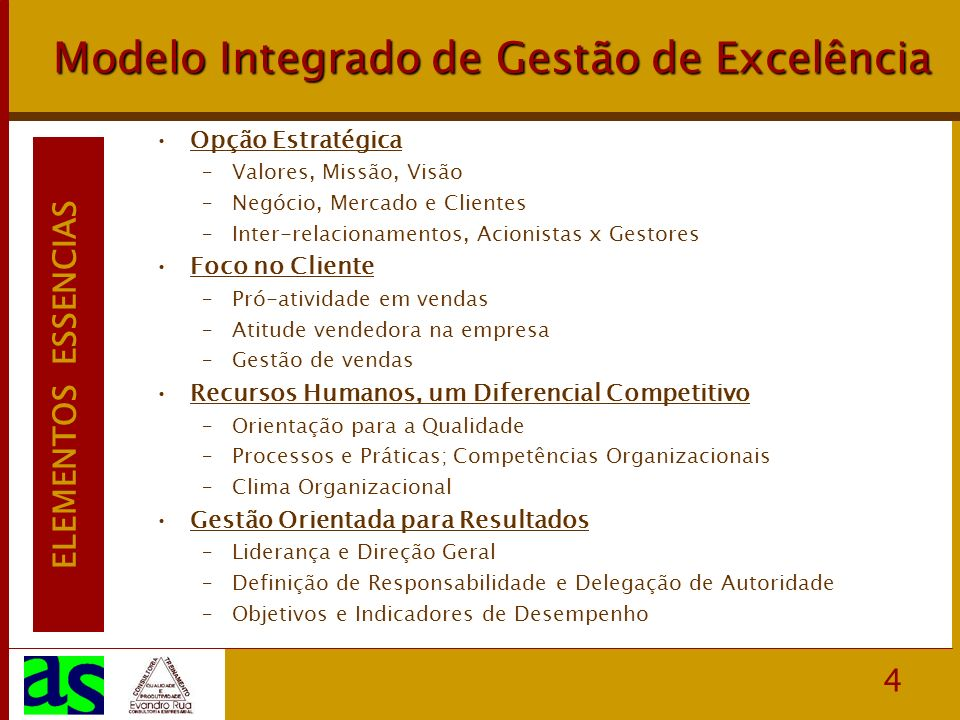 4 Modelo Integrado de Gestão de Excelência Opção Estratégica –Valores, Missão, Visão –Negócio, Mercado e Clientes –Inter-relacionamentos, Acionistas x