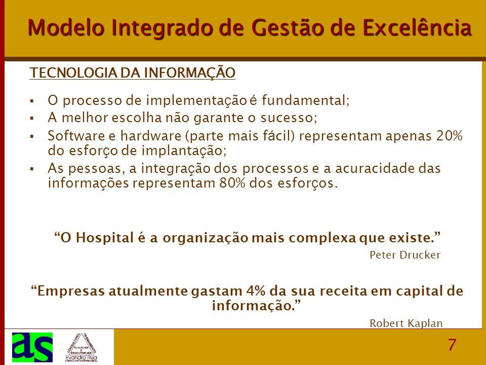 7 Modelo Integrado de Gestão de Excelência TECNOLOGIA DA INFORMAÇÃO O processo de implementa ç ão é fundamental; A melhor escolha não garante o sucess