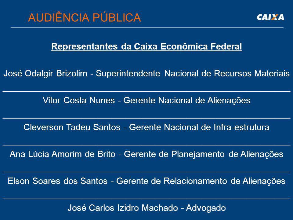 Representantes da Caixa Econômica Federal José Odalgir Brizolim - Superintendente Nacional de Recursos Materiais __________________________________________________________ Vitor Costa Nunes - Gerente Nacional de Alienações __________________________________________________________ Cleverson Tadeu Santos - Gerente Nacional de Infra-estrutura __________________________________________________________ Ana Lúcia Amorim de Brito - Gerente de Planejamento de Alienações __________________________________________________________ Elson Soares dos Santos - Gerente de Relacionamento de Alienações __________________________________________________________ José Carlos Izidro Machado - Advogado AUDIÊNCIA PÚBLICA