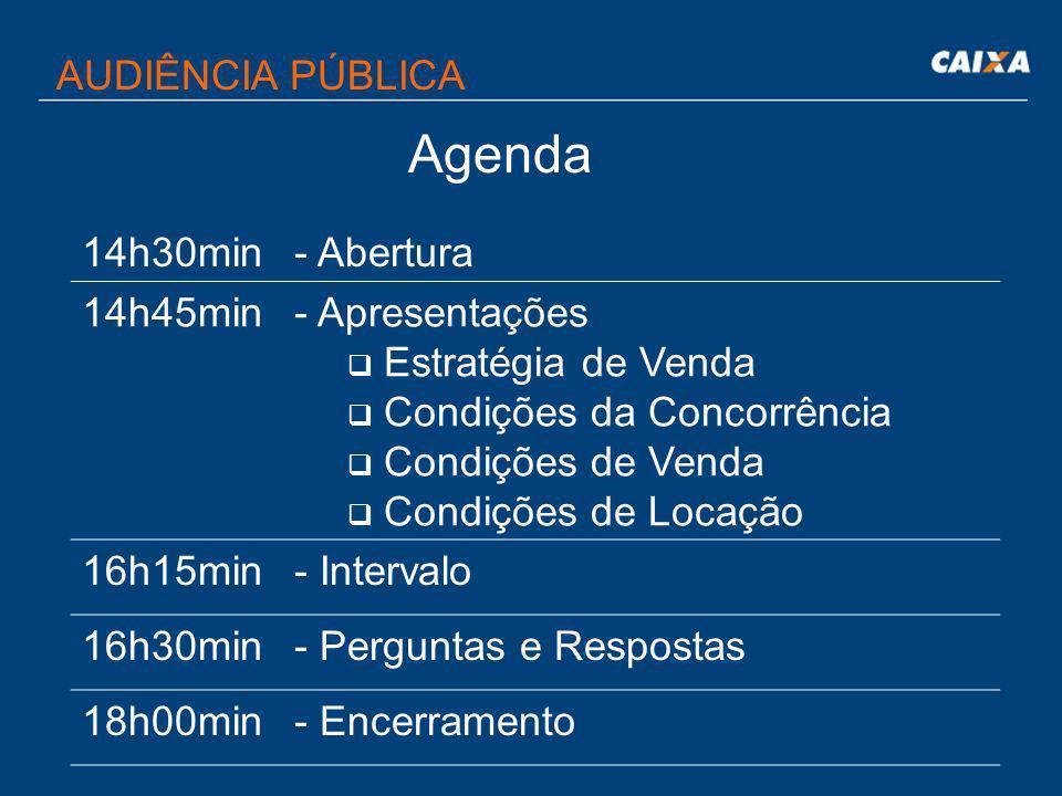 Agenda AUDIÊNCIA PÚBLICA 14h30min- Abertura 14h45min- Apresentações Estratégia de Venda Condições da Concorrência Condições de Venda Condições de Locação 16h15min- Intervalo 16h30min- Perguntas e Respostas 18h00min- Encerramento