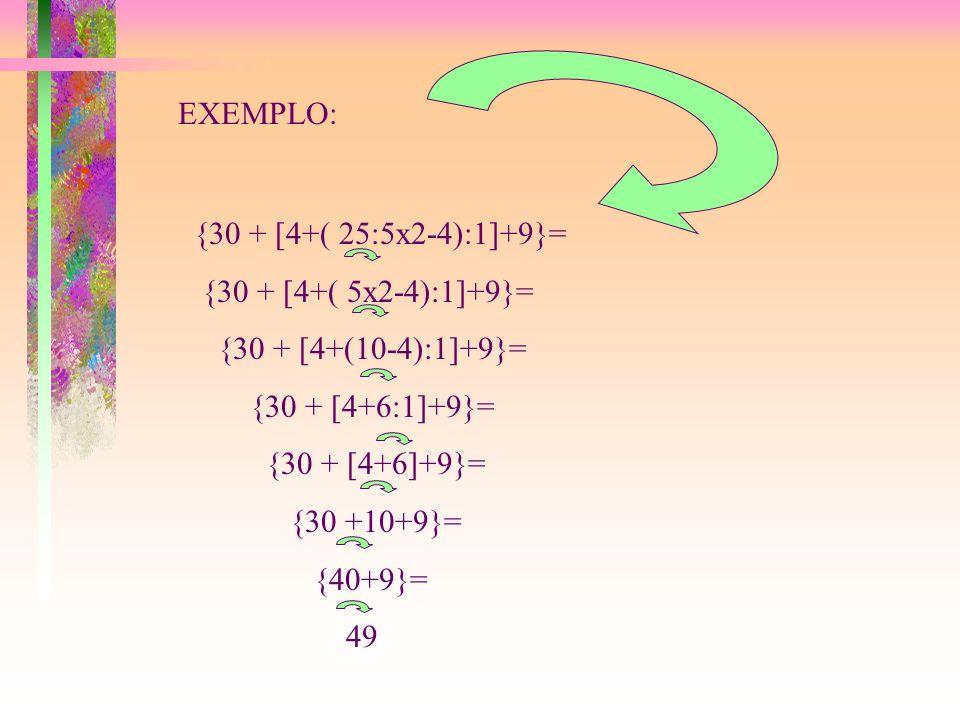 EXPRESSÕES NUMÉRICAS COM:( ),[ ] e { } Para resolvermos as expressões com :( ),[ ] e { }, devemos seguir a seguinte ordem: 1º. resolvemos tudo que est