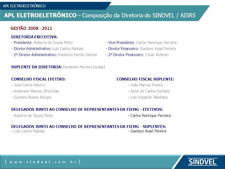 APL ELETROELETRÔNICO APL ELETROELETRÔNICO – Composição da Diretoria do SINDVEL / AISRS GESTÃO 2008 - 2011 DIRETORIA EXECUTIVA: - Presidente: Roberto d