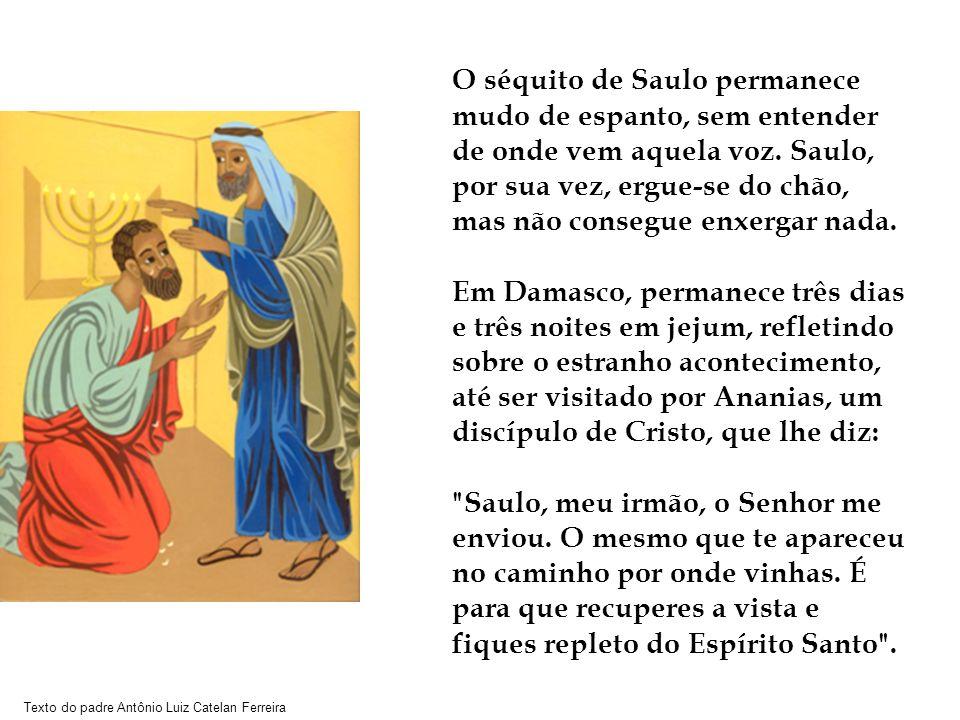 Texto do padre Antônio Luiz Catelan Ferreira O séquito de Saulo permanece mudo de espanto, sem entender de onde vem aquela voz. Saulo, por sua vez, er