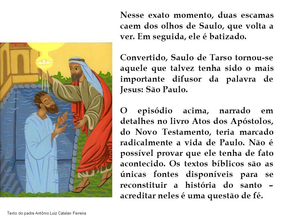 Texto do padre Antônio Luiz Catelan Ferreira Nesse exato momento, duas escamas caem dos olhos de Saulo, que volta a ver. Em seguida, ele é batizado. C