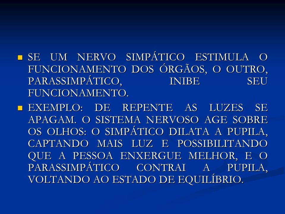 SE UM NERVO SIMPÁTICO ESTIMULA O FUNCIONAMENTO DOS ÓRGÃOS, O OUTRO, PARASSIMPÁTICO, INIBE SEU FUNCIONAMENTO. SE UM NERVO SIMPÁTICO ESTIMULA O FUNCIONA