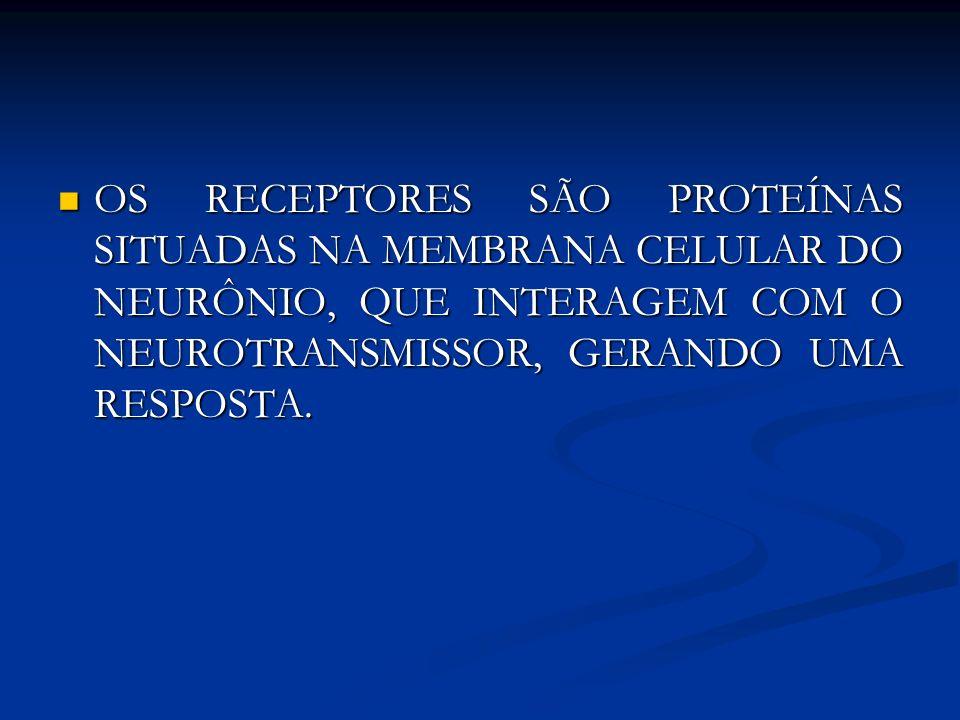 OS RECEPTORES SÃO PROTEÍNAS SITUADAS NA MEMBRANA CELULAR DO NEURÔNIO, QUE INTERAGEM COM O NEUROTRANSMISSOR, GERANDO UMA RESPOSTA. OS RECEPTORES SÃO PR