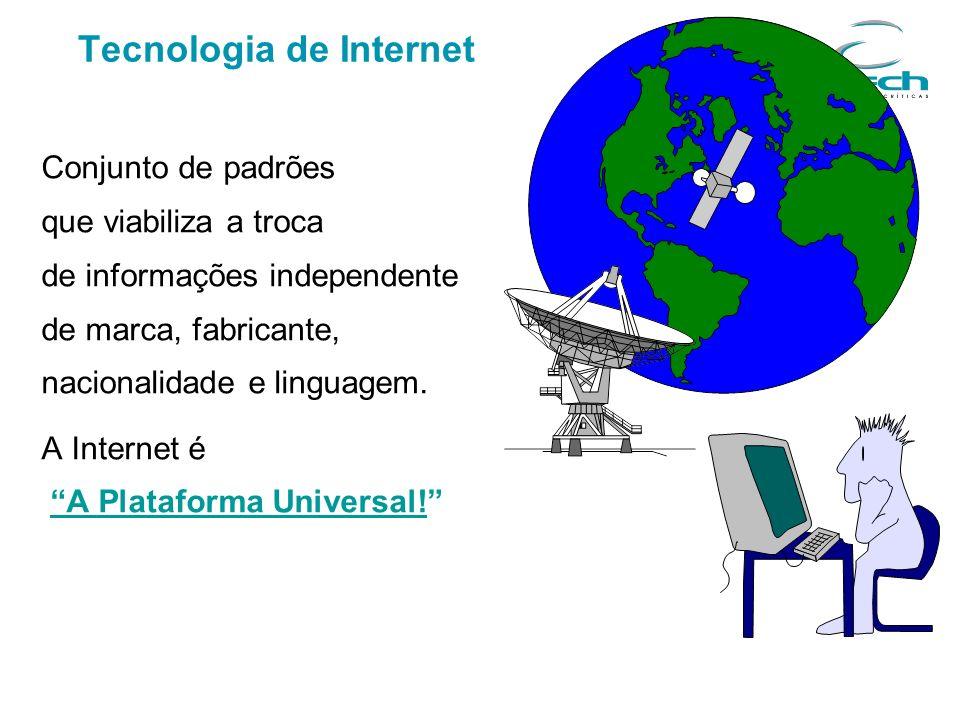 Conjunto de padrões que viabiliza a troca de informações independente de marca, fabricante, nacionalidade e linguagem. A Internet é A Plataforma Unive