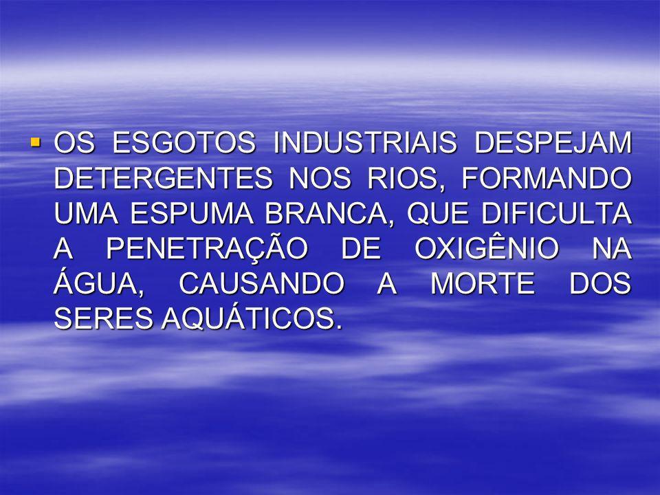 OS ESGOTOS INDUSTRIAIS DESPEJAM DETERGENTES NOS RIOS, FORMANDO UMA ESPUMA BRANCA, QUE DIFICULTA A PENETRAÇÃO DE OXIGÊNIO NA ÁGUA, CAUSANDO A MORTE DOS