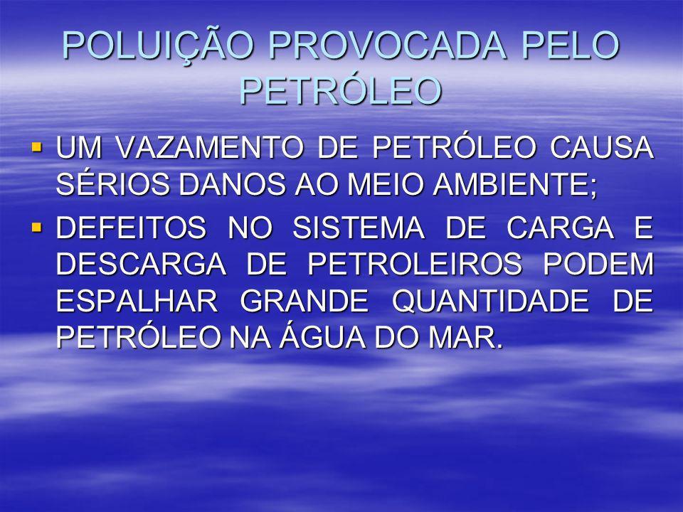 POLUIÇÃO PROVOCADA PELO PETRÓLEO UM VAZAMENTO DE PETRÓLEO CAUSA SÉRIOS DANOS AO MEIO AMBIENTE; UM VAZAMENTO DE PETRÓLEO CAUSA SÉRIOS DANOS AO MEIO AMB