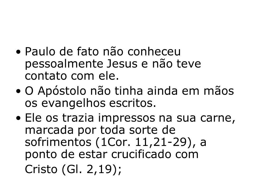 Paulo de fato não conheceu pessoalmente Jesus e não teve contato com ele. O Apóstolo não tinha ainda em mãos os evangelhos escritos. Ele os trazia imp