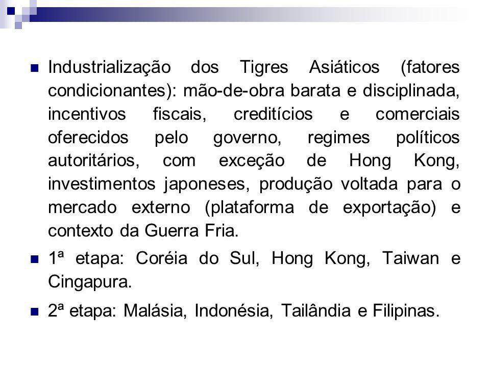 Industrialização dos Tigres Asiáticos (fatores condicionantes): mão-de-obra barata e disciplinada, incentivos fiscais, creditícios e comerciais oferec