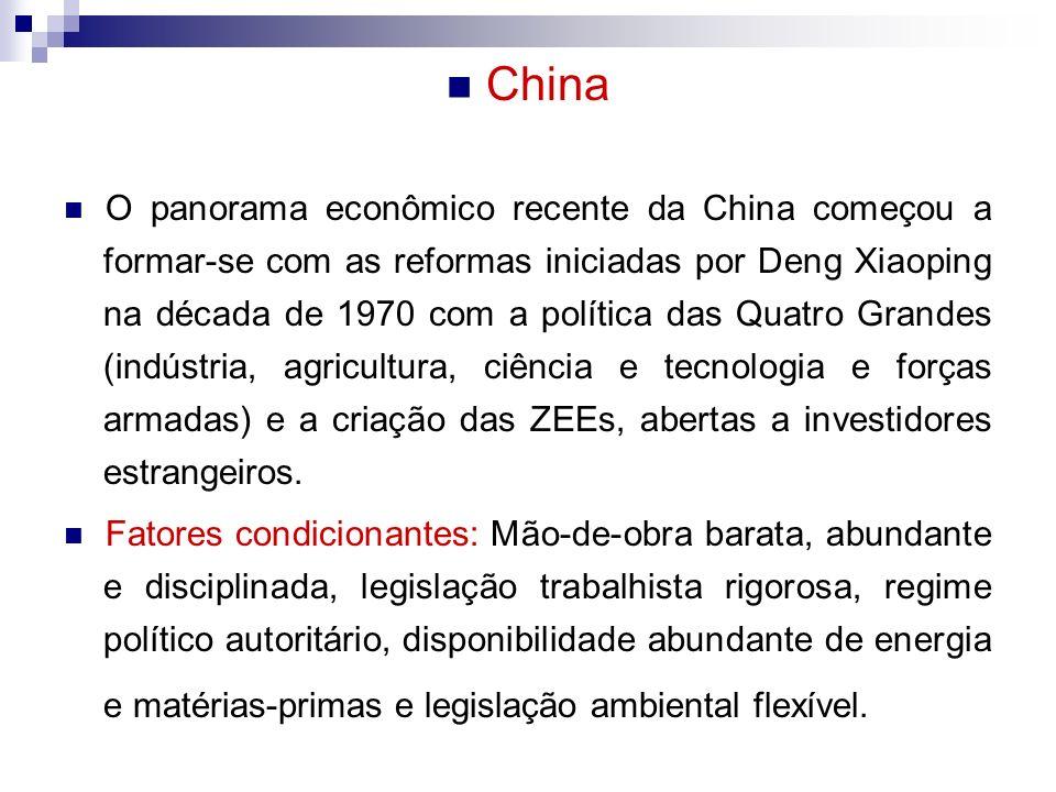 China O panorama econômico recente da China começou a formar-se com as reformas iniciadas por Deng Xiaoping na década de 1970 com a política das Quatro Grandes (indústria, agricultura, ciência e tecnologia e forças armadas) e a criação das ZEEs, abertas a investidores estrangeiros.