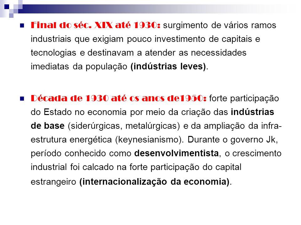 Final do séc. XIX até 1930: surgimento de vários ramos industriais que exigiam pouco investimento de capitais e tecnologias e destinavam a atender as