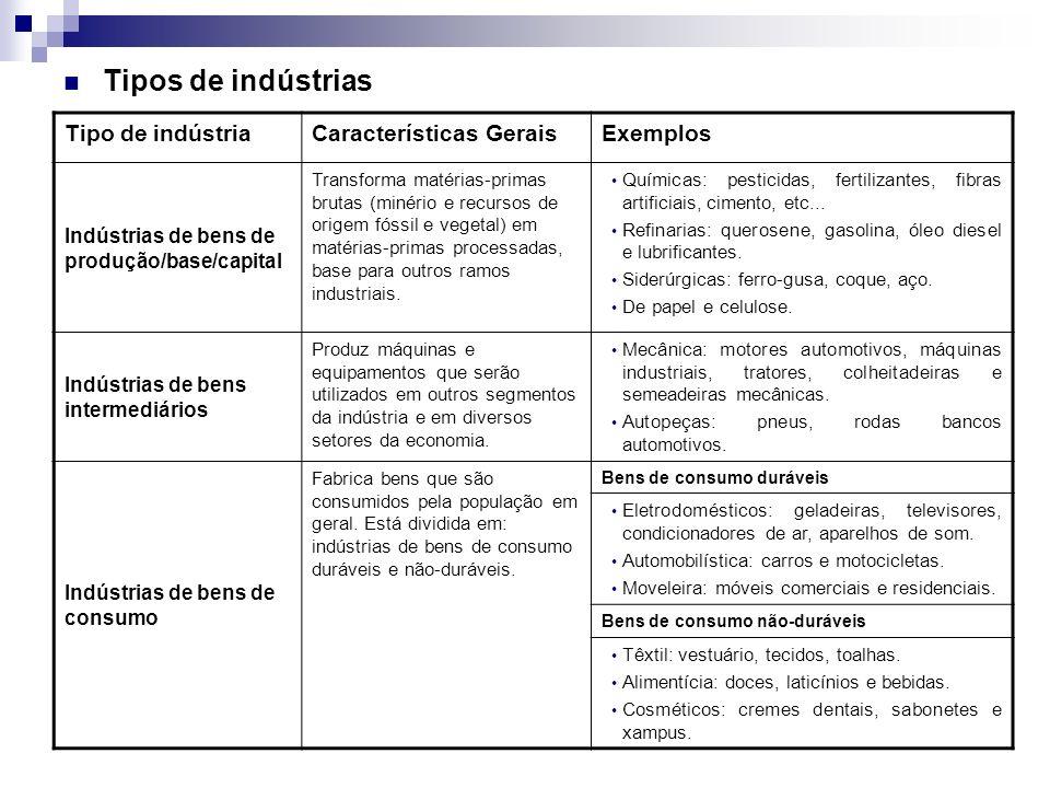 Tipos de indústrias Tipo de indústriaCaracterísticas GeraisExemplos Indústrias de bens de produção/base/capital Transforma matérias-primas brutas (minério e recursos de origem fóssil e vegetal) em matérias-primas processadas, base para outros ramos industriais.