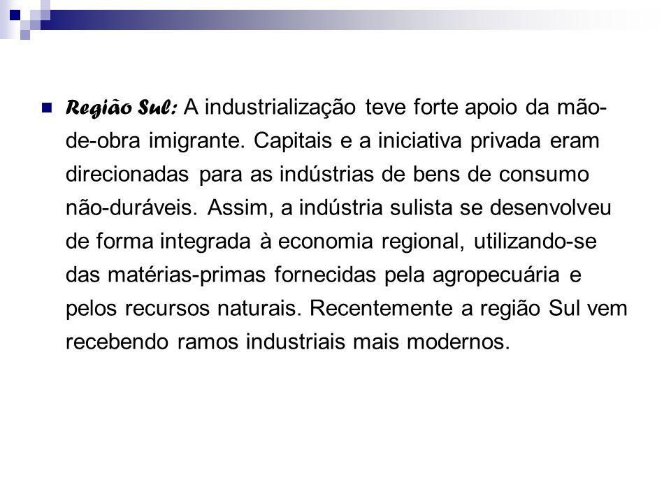 Região Sul: A industrialização teve forte apoio da mão- de-obra imigrante. Capitais e a iniciativa privada eram direcionadas para as indústrias de ben