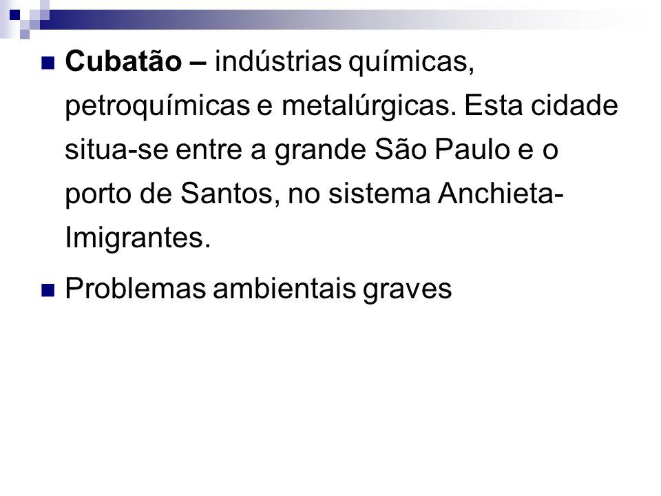 Cubatão – indústrias químicas, petroquímicas e metalúrgicas. Esta cidade situa-se entre a grande São Paulo e o porto de Santos, no sistema Anchieta- I