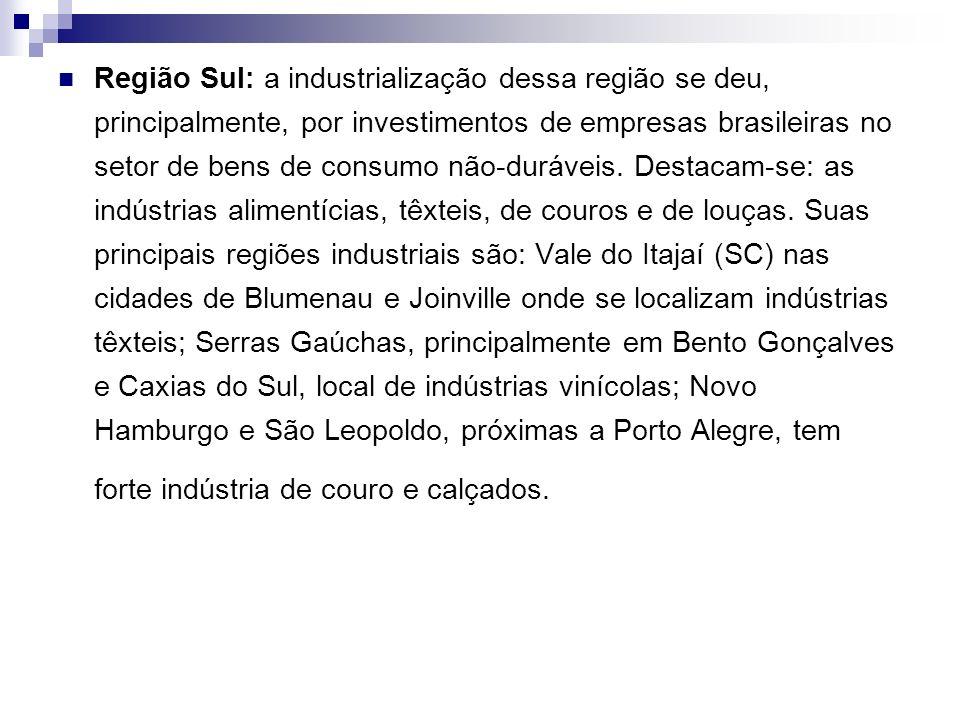 Região Sul: a industrialização dessa região se deu, principalmente, por investimentos de empresas brasileiras no setor de bens de consumo não-duráveis